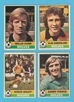 FOOTBALL - TOPPS  GUM  -  4  DIFFERENT  FOOTBALLERS  -  WOLVES  -  1977