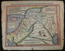 """16th c. German Hand Colored Map of the Middle East. C.1540's, 15 ¼"""" x 12""""."""