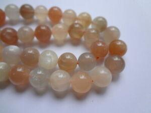 10mm Round Natural Peach Pink Rainbow Moonstone Gemstone Beads - 10 Beads