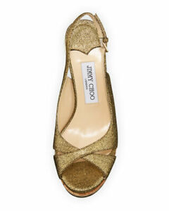 Jimmy Choo Amely Gold Crackled Leather Cork Wedge Sandals sz 40 1/2 Us 39.5 $550