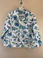 Appleseeds Women's White 100% Cotton Floral Denim Jean Jacket SZ 1X