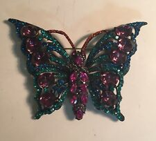 VTG THELMA DEUTSCH SIGNED COLORFUL RHINESTONE BUTTERFLY PIN BROOCH