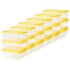 18 x IKEA PRUTA 0.6L Clear/Yellow Food Storage Freezer Containers (14x14x6cm)