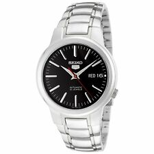 Seiko Men's 5 Automatic Silver Stainless-Steel Automatic Watch with Black Dial,