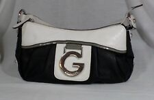 G by Guess Black & White Leather Handbag