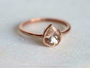 2Ct Pear Brilliant Cut Morganite Solitaire Engagement Ring 14K Rose Gold Finish