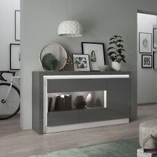 Lyon Platinum and Light Grey Gloss Glazed 3 Door Sideboard Inc LED Lights