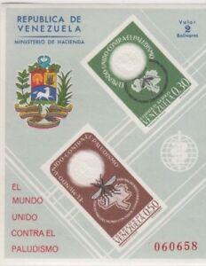 Stamps VENEZUELA 1966 anti malaria imperforated mini sheet, MUH