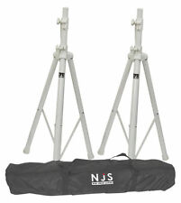 NJS White Speaker Stand Kit inc Carry Bag 35mm DJ Disco Wedding Tripod