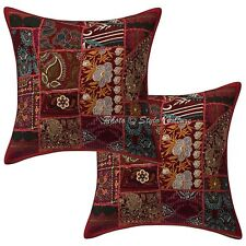 "Cotton Floral Cushion Cover Kantha Printed Pillow Case Cover 16"" Throw"