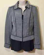 Women Business Suit Jacket Blazer Slim Coat Outwear Full Front Zip XS 2 Gray EUC