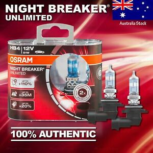2x HB4 OSRAM Night Breaker UNLIMITED +110% Light DuoBox Bulbs Lamps for LOW BEAM