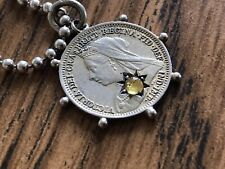 Victorian Antique Jewelry Silver Coin Pendant With 925 Silver Chain 1901