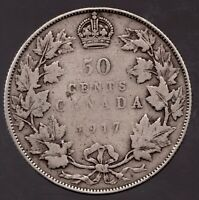 1917 - Canadian King George V Sterling Silver ½ Dollar / 50 Cent - Superfleas