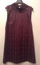 "BNWT ""siguiente"" Talla 12 Petite Cambio De Impresión Damasco/Jacquard Borgoña Vestido Nuevo"