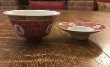 Oriental Chinese Cup/ Bowl & Saucer- Hand Painted- Deep Pink