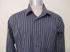Ben Sherman LS Shirt Size L 16 34/35  Navy Striped  EUC