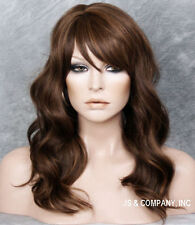 HUMAN HAIR Blend Full Wig Wavy Brown Auburn Mix Heat Safe Bangs WBWV 4-27-30