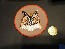 "BSA, Owl Patrol Jacket Patch, beautiful 5 1/2"" large, wood badge orange border"