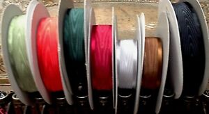 """Moire Ribbon Satin 1"""" Edges Reversible 1yd Made in Japan"""