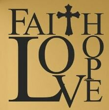 FAITH HOPE LOVE Cross Vinyl Lettering Wall Art Decal Decor Sticker Quote Saying