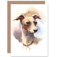Dog Italian Greyhound Watercolour Card With Envelope