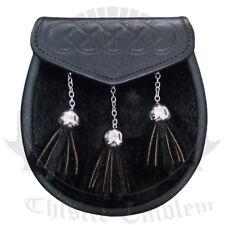 TE Men's Semi Dress Scottish Leather Kilt Sporran Black Seal Skin/Kilt Sporrans