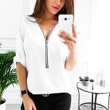 Womens Zipper V Neck Chiffon Tops Ladies Casual Long Sleeve Plain Blouse T Shirt