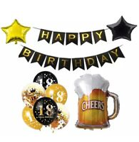 18th Birthday Decorations Balloons Cheers to 18 Years Beer Confetti Balloons