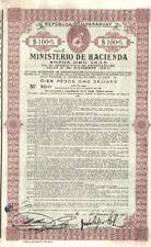 Paraguay Gold Internal loan 1935 Bond 1940 Public Debt $100 Uncancelled coupons