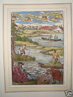 Fishermen Fischer Fish Mesh Colored Real Old Copperplate 1694