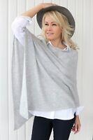 CASHMERE Poncho Light Grey CAPE Wrap One Size,FREE UK Shipping,