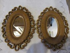 Vtg Dart Ind Homco # 2615 Set Of Mirrors Basket Weave Style Wall Accents Decor
