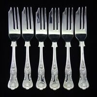 "6 HEAVY VINTAGE SILVER PLATED KINGS PATTERN CAKE STARTER FORKS 5.5"" SHEFFIELD"