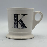 Anthropologie K Initial  Letter Coffee Tea Mug White Shaving Cup Style Tea Cup