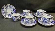 Royal Crown Derby England Blue Mikado - Set of 5 Cups & Saucers - Blue Backstamp