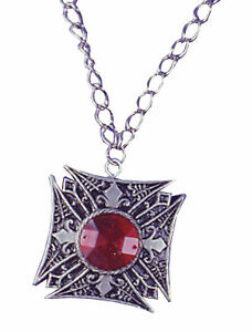 GOTHIC MEDALLION VAMPIRE RED GEM COSTUME JEWELRY DRESS ACCESSORY FW9084RD