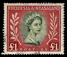 1954-56 RHODESIA & NYASALAND #155 QEII - USED - VF - CV $30.00 (ESP#1923)