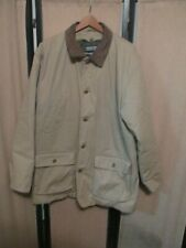 Lands  End Barn Jacket Coat leather Collar button out Lining mens 42-44 Long