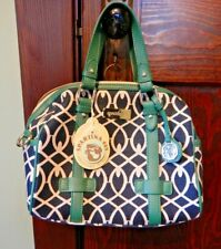 NWT 2013 SPARTINA 449 Chaplin's Landing Linen Leather Hollecker hand bag green C