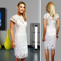QUIZ SPECIAL OCCASION PARTY DRESS UK 8 WHITE PENCIL CROCHET LACE LINING MIDI #43