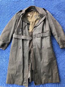 Vtg Korean War US Army Field Officers Overcoat 1950 Trench Coat OD7 Medium Named