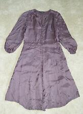 Isabel Marant Etoile Purple Shiny Side Zip Button Up Dress Womens Size 0 UK 6-8