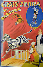 RE SOCIETY GRAIS ZEBRAS & BABOONS CIRCUS HAND PULLED LITHOGRAPH W/COA
