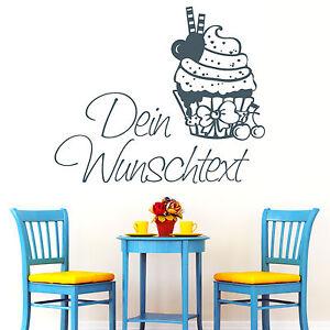 10794 Wandtattoo Loft Aufkleber Cupcake mit WUNSCHTEXT Muffin Kuchen Tee Küche