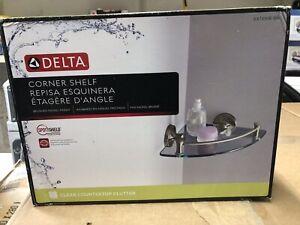 8 in. W Glass Corner Shelf in Brushed Nickel by Delta