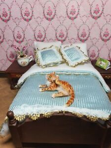 OOAK Realistic  ginger cat  Dollhouse Handmade IGMA ARTISAN