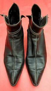 CHAUSSURES BOOTS KARL LAGERFELD FEMME A POINTE STYLE SANTIAGS TOUT CUIR P.39