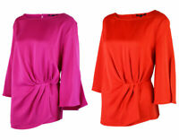 Bonmarche John Heyes Womens Curve Satin Red Pink Pleat Top Blouse Size 14-26
