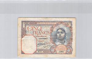 Algérie 5 Francs 8.9.1928 J.2955 N°73858051 Pick 77a